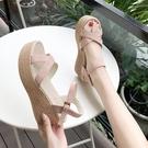 楔形鞋 坡跟涼鞋女粗跟夏季2021新款韓版性感一字帶羅馬厚底防水臺高跟鞋 韓國時尚 618