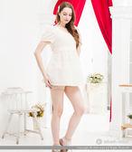ohoh-mini孕婦褲 特殊下擺壓摺水玉點點短褲
