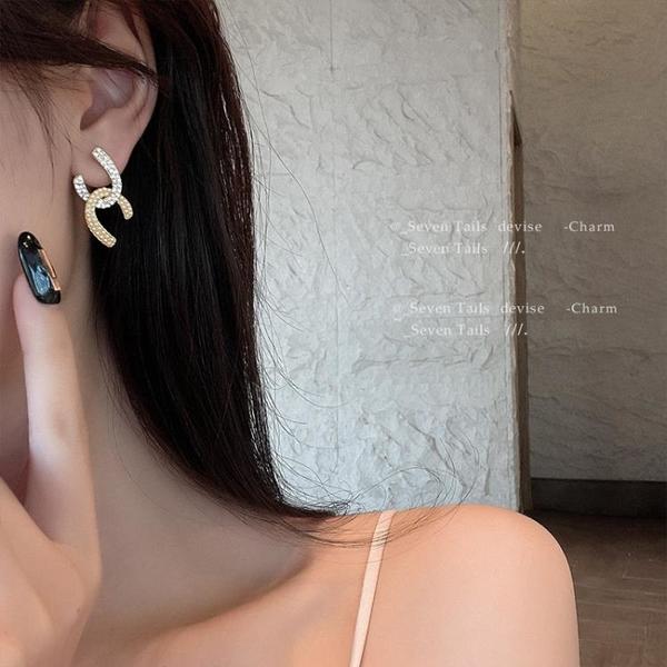 奢華點點珍珠閃鉆小香風耳釘 耳環小眾設計 感高級感耳飾女