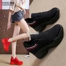內增高老爹鞋夏季新款網面女鞋百搭飛織透氣休閒運動鞋