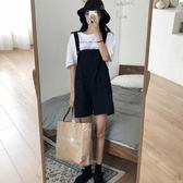 夏裝新款韓版ulzzang寬鬆百搭背帶闊腿短褲學生怪味少女褲子 草莓妞妞