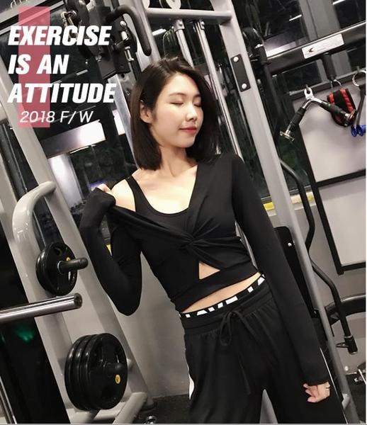 annerun露臍短款瑜伽運動上身女緊身長袖速干秋季網紅跑步健身服