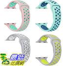 [106美國直購] 手錶帶 Gersymi Tech Apple Watch Nike Band Soft Silicone Sport (4pcs-white+pink+teal+yellow, 42mm)