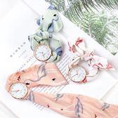 韓版時尚簡約潮流手錶 學生小清新女士腕錶布帶綁絲帶石英錶女錶 草莓妞妞