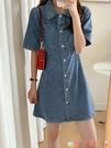 短袖洋裝 polo領牛仔裙女夏季韓版收腰顯瘦法式少女復古港味短袖連身裙 愛丫 免運