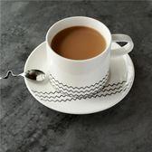 交換禮物 北歐風格日式骨瓷牛奶杯簡約白色陶瓷咖啡杯碟帶勺帶托盤早餐杯子