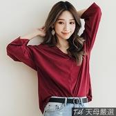 【天母嚴選】V領扭結素面棉質七分袖T恤上衣(共三色)