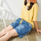【慢。生活】仿舊水洗感直條拼接丹寧短褲 (大尺碼) FREE復古藍