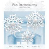 聖誕 裝飾 佈置 扇形吊飾3入-雪花