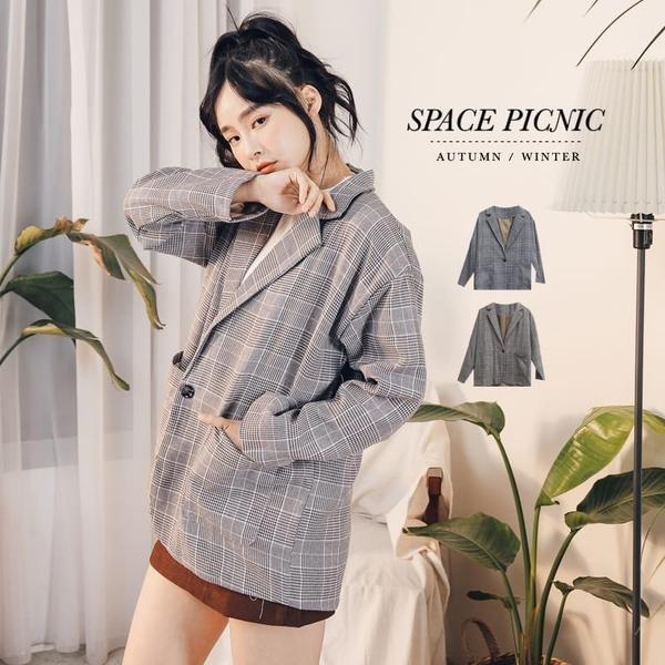 外套 Space Picnic|經典格紋方口袋薄西裝外套(預購)【C19092042】