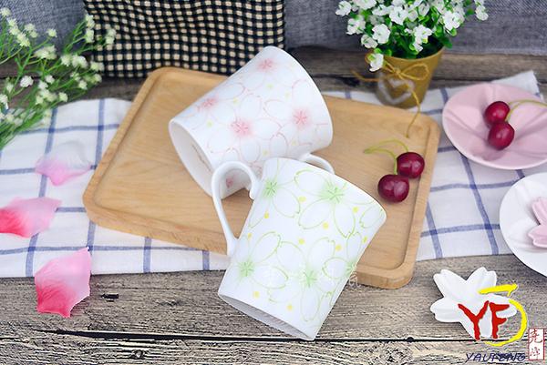 【堯峰陶瓷】日本進口日式大東亞櫻花系列馬克杯 粉櫻/綠櫻  下午茶適用   野餐擺盤