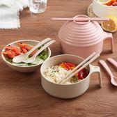 泡麵碗日式小麥秸稈餐具泡面碗帶蓋大號學生宿舍方便面碗筷套裝五件套 宜品居家館