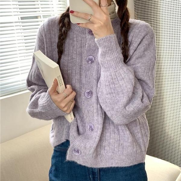毛衣外套 寬松外穿紫色外套秋冬百搭2020新款春秋季韓版日系針織開衫
