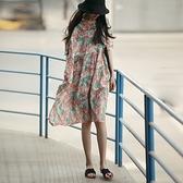 亞麻洋裝-短袖寬鬆高腰大擺印花女連身裙74ba13【巴黎精品】