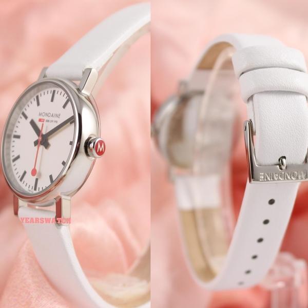 【萬年鐘錶】MONDAINE  瑞士國鐵經典腕錶  26mm  白  XM-65811S 白皮