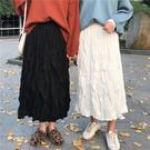 秋季韓版中長款黑色白色皺皺裙半身裙秋冬褶皺高腰百褶裙子女春秋