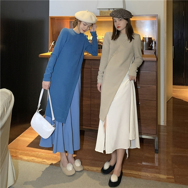 第二件4折 韓系名媛百搭拼接假兩件收腰顯瘦氣質長袖洋裝