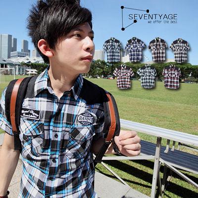 ∥柒零年代∥Traveling【N7466J】韓系都會風獨特肩部黑色拼接徽章格紋短袖襯衫(SH6067)