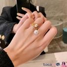戒指 設計師款寬面珍珠戒指女時尚法式宮廷風網紅食指戒優雅氣質手飾潮 coco