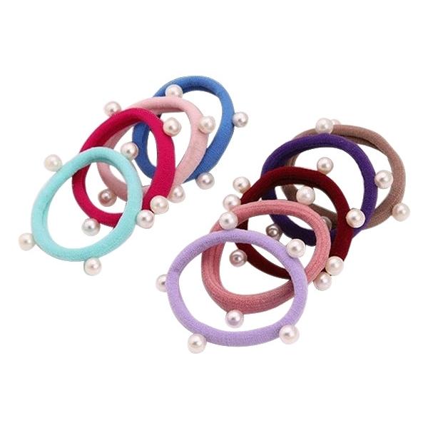韓版多樣式時尚珍珠毛巾圈髮飾(1入)【小三美日】顏色隨機