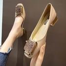 豆豆鞋高跟鞋女春季新款鞋子中跟粗跟方頭女鞋小香風單鞋【慢客生活】