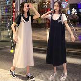 初心 棉質 背帶裙十上衣 【DS8714】美式風格 長裙 吊帶裙 無袖 長裙 寬鬆 長洋裝
