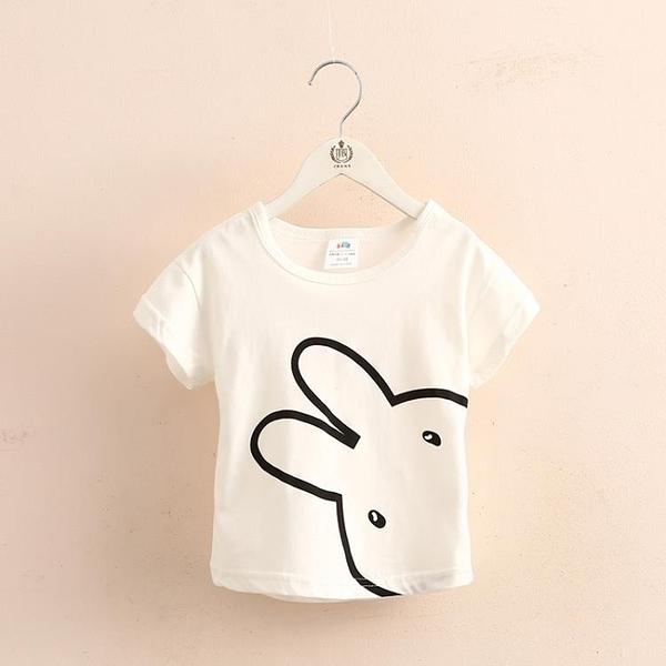 免聚寶寶小兔短袖T恤 夏裝新款女童童裝兒童圓領上衣tx-9578 格蘭小鋪