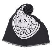 Armani Exchange 經典大圓LOGO純棉薄圍巾(黑色)102851