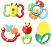 嬰兒玩具牙膠手搖鈴鐺寶寶3-6-12個月益智新生幼兒0-1歲女孩  LannaS