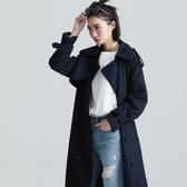 SISJEANS-藏藍直條紋長版毛呢大衣【1729301608】