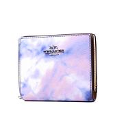美國正品 COACH 渲染防刮皮革釦式對開短夾-粉紫【現貨】