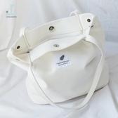 手提單肩布袋夏百搭潮款韓版大容量厚帆布包女斜挎學生休閒包『艾麗花園』