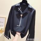 春秋心機襯衫女2019新款寬鬆睡衣風雪紡職業襯衣長袖設計感上衣潮  茱莉亞