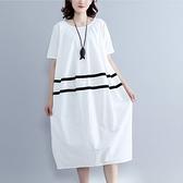 現貨白L洋裝文藝範加肥加大碼女裝棉麻夏裝連身裙短袖20774