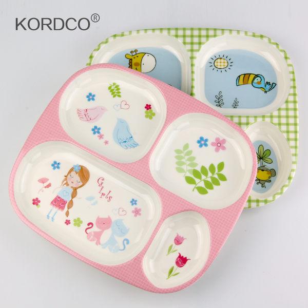 密胺兒童餐具寶寶嬰幼兒飯盤卡通分格餐盤長方形托盤【時尚家居館】
