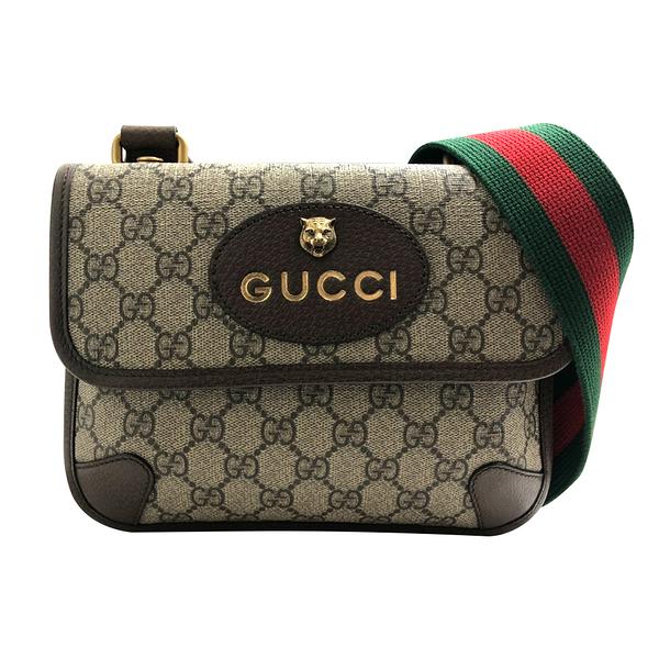 【台中米蘭站】全新品 GUCCI GG Supreme帆布虎頭綠紅綠背帶斜背包 (501050-咖)