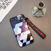 菱形浮雕iphone6plus手機殼簡約6s情侶掛繩蘋果7plus日韓X潮女8p