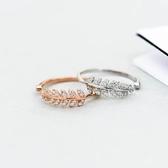戒指 s925純銀潮流羽毛鋯石戒指女韓國個性簡約氣質森系食指尾戒指環