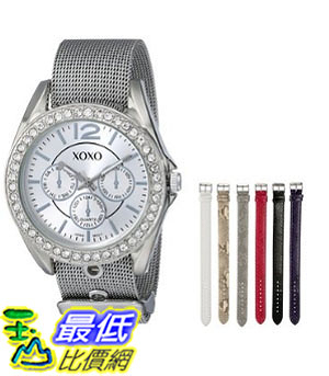 [美國直購] 女錶 XOXO Women s XO9053 Rhinsetone-Accented Watch with Interchangeable Straps