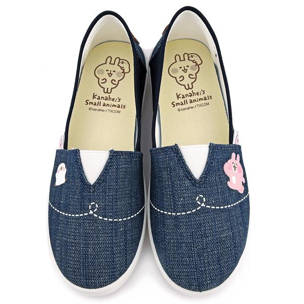 童鞋城堡-卡娜赫拉 女款 質感簡約單寧帆布休閒鞋KI8361-藍