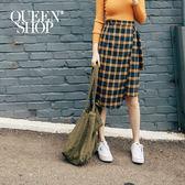 Queen Shop【03030217】配色格紋腰帶造型中長裙 S/M*現+預*