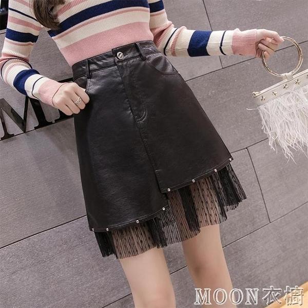 短款皮裙 新款韓版高腰顯瘦包臀裙網紗拼接pu皮裙百搭a字半身短裙 快速出貨