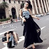 克妹Ke-Mei【ZT67213】泰國潮牌 龐克水洗牛仔Y字美背併接膨紗吊帶洋裝