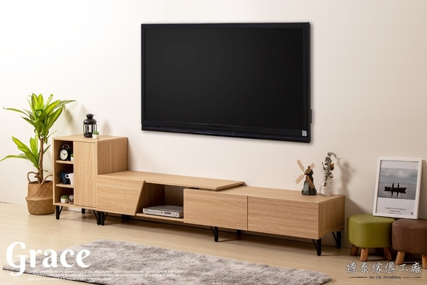 D&T 德泰傢俱 GRACE 北歐栓木5.6尺-7尺伸縮電視櫃 B001-588