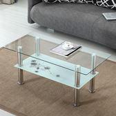 現代簡約玻璃茶几長方形簡易鋼化雙層透明經濟型小戶型迷你小茶桌wy
