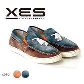 XES 男鞋 休閒鞋 刷色麂皮休閒鞋 簡約時尚風 小流蘇裝飾 拼色設計 海軍藍 (男)