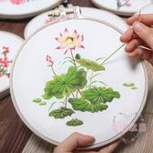 刺繡diy荷花手工制作創意材料包 歐式小幅立體花卉3D線繡