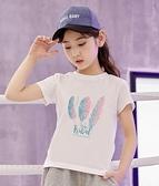 兒童t恤2021年新款女童純棉短袖上衣夏季女孩童裝中大童夏裝半袖 幸福第一站