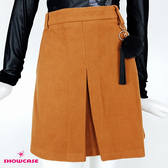 【SHOWCASE】輕暖冬款麂皮箱褶簡約膝上A字短裙(咖)