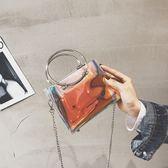 斜背包-夏天小包包女新款韓版透明果凍鍊條單肩斜挎小方包潮【korea時尚記】
